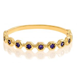 Yellow Gold 9kt Ring with Synthetic Amethyst