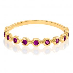 Yellow Gold 9kt Ring with Synthetic Ruby