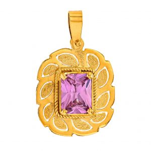 Handmade Pendant in Yellow Gold 9kt withSynthetic Pink Sapphire