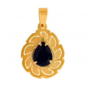 Handmade Pendant in Yellow Gold 9kt with Black Zirconia