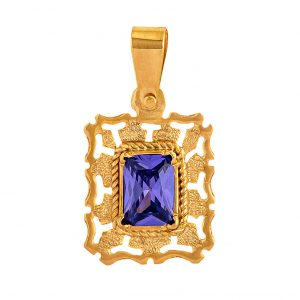 Handmade Pendant in Yellow Gold 9kt with Synthetic Amethyst