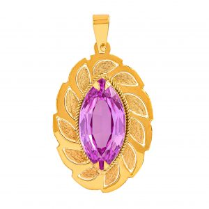 Handmade Pendant in Yellow Gold 9kt with Synthetic Pink Sapphire