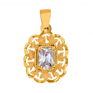 Handmade Pendant in Yellow Gold 9kt with White Cubic Zirconia