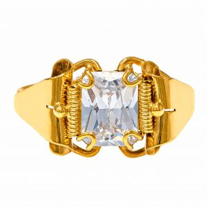 Handmade Yellow Gold 9kt Ring with White Cubic Zirconia