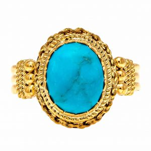 Handmade Yellow Gold 9kt Ring with Turquoise