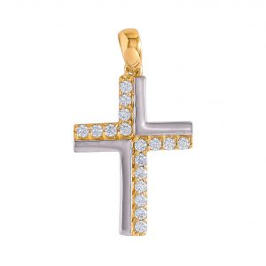 Cross in 9kt Yellow and White Gold with White Cubic Zirconia