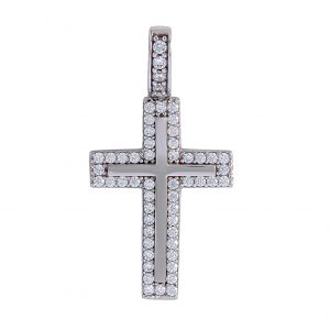 Cross in 9kt White Gold with White Cubic Zirconia