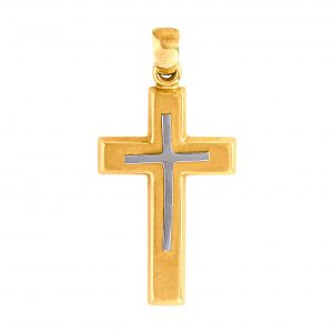 Cross Yellow and White Gold 9kt