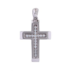 Cross in 9kt White Gold And White Cubic Zirconia