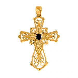 Cross in Yellow Gold 9kt with Black Zirconia