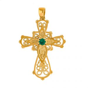 Cross in Yellow Gold 9kt with Synthetic Emerald