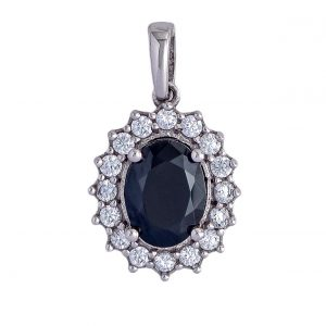 Pendant in White Gold 9kt with Black and White Zirconia