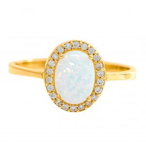 Ring in Yellow Gold 9kt with Synthetic Opal