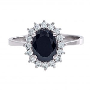 Ring in White Gold 9kt with Black and White Zirconia