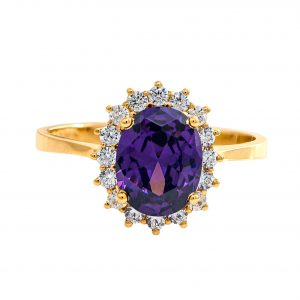 Yellow Gold 9kt Ring with Synthetic Amethyst and White Zirconia