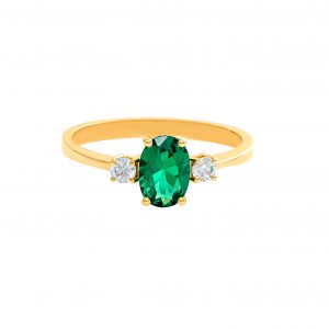 Yellow Gold 9kt Ring with Synthetic Emerald and White Zirconia