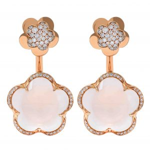 Pasquale Bruni Bon Ton Rose Gold Earrings with Diamonds & White Quartz