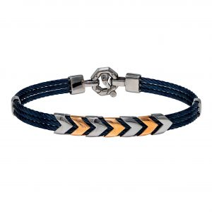 Baraka Discovery Stainless Steel & Rose Gold Bracelet with Blue PVD