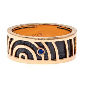 Baraka Meteorite Rose Gold Ring with Sapphire