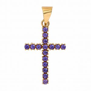 Cross in 9kt Yellow Gold with Synthetic Amethyst