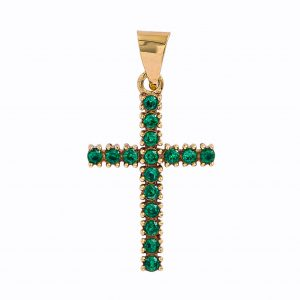 Cross in 9kt Yellow Gold with Synthetic Emerald
