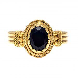 Handmade Yellow Gold 9kt Ring with Black Zirconia