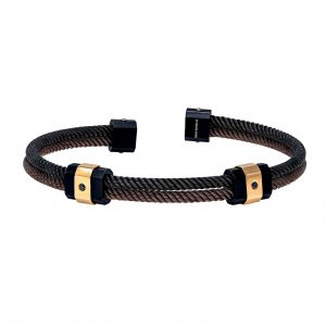 Baraka Discovery Stainless Steel & Rose Gold Bracelet with Black and Brown PVD