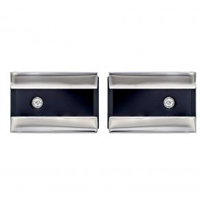 Baraka Stainless steel & Black Ceramic Cufflinks with Diamonds