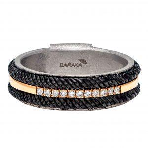 Baraka Ritmika Rose Gold & Steel Ring with Black PVD & Diamonds