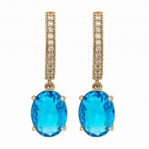 Handmade Yellow Gold 9kt Earrings with Synthetic Topaz and White Cubic Zirconia