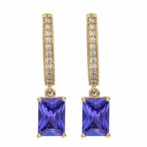 Handmade Earrings in Yellow Gold 9kt with Synthetic Amethyst and White Cubic Zirconia