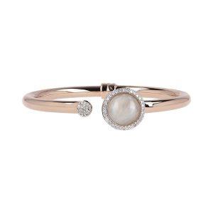 Bronzallure White Moonstone and Cubic Zirconia Bangle Bracelet
