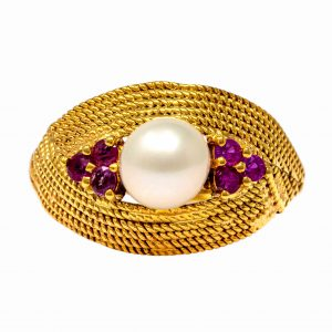 Handmade Yellow Gold 9kt Ring with Synthetic Ruby and Pearl